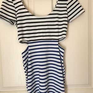 Lucca couture striped cutout mini dress fitted M